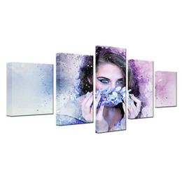 Wholesale wall stickers women - Free shipping 5 Pieces Beautiful Woman With Flower Wreath Watercolor Modular Canvas HD Prints Posters Home Decor Art Oil Wall Pictures