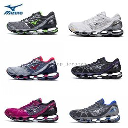 Wholesale woman boots 11 - 2018 New Authentic MIZUNO WAVE PROPHECY 7 Men Women Designer Sports Running Shoes Sneakers Mizunos 7s Casual Trainers Size 3.5-7.5 7-11