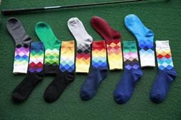Herrensocken British Style Plaid calcetines Farbverlauf Marke Elite lange Baumwolle für glückliche Männer Großhandel Socken TO469 von Fabrikanten