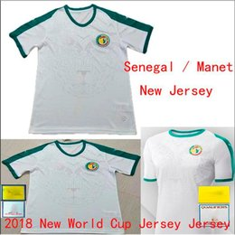 Wholesale Sports Jersey Patches - new Senegal Manet Home away white soccer jersey 2018 World Outdoor sports suit printed patch l mpada Short-sleeved football Shirts
