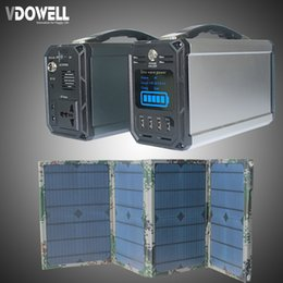 Wholesale Electric Battery Storage - 300Wh 60000mAh High Capacity Battery Solar Portable Power supply electric energy storage box with 30w Solar panel AC to AC 110V USB QC3.0