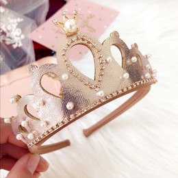 Wholesale Baby Crystal Crowns - New 2018 Gold Girls Crown Hair Sticks pearl crystal Childrens princess headband Baby Headbands kids Hair Accessories Hair Accessory A1633