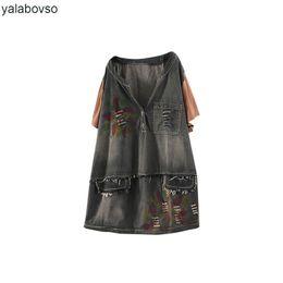vintages lochhemd Rabatt Denim Coon Vintage Hip Hop Loch Unedge 2018 Sommer T Shirts Frauen Lose O Neck Tees Punk Tops Yalabovso A74-GG 15646Z20