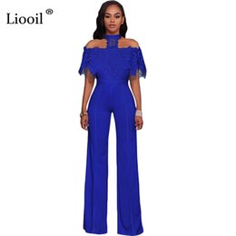 7ca69b974d30 Liooil Lace Patchwork Rompers Womens Jumpsuit Off Shoulder Halter Elegant Wide  Leg Pants Black Sexy Party Jumpsuits Overalls