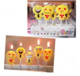 Bougies mignonnes en Ligne-5pcs / set mignonne emoji gâteau bougies anniversaire mariage fête célébrations fournir bougie d'anniversaire joyeux anniversaire décoration bougie
