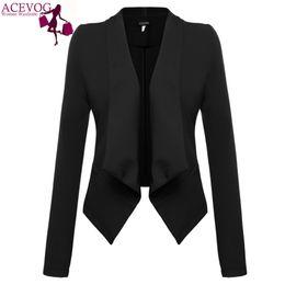 Дамы длинное красное пальто онлайн-Wholesale-ACEVOG  2017 Women Blazer Coat Autumn Winter Long Sleeve Jacket Coat Basic Elegant Ladies Blazers Dark Red Black Plus Size