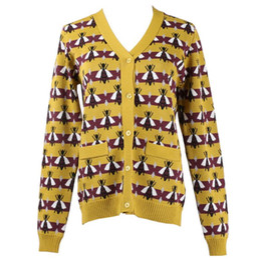 Argentina 2018 otoño nuevo estilo con cuello en V abeja jacquard manga larga chaqueta de punto casual chaqueta de suéter de punto mujer moda tops blusa amarilla Suministro