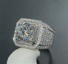 topaz gemstone men rings Australia - Stunning Handmade Fashion Jewelry 925 Sterling Silver Popular Round Cut White Topaz CZ Diamond Full Gemstones Men Wedding Band Ring Gift