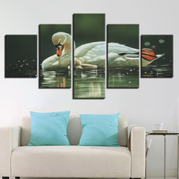 Wholesale modern swimming - Wall Art Framed 5 Pieces Animal Swans In The Lake Swim Painting Modern Printing Poster Canvas Pictures Modular Living Room Decor