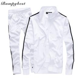Wholesale Sportwear Set - Bumpybeast Sportswear Mens Track Suits 2018 Spring Sportswear Men Solid Color Tracksuits New Brand White Sportwear Set Zipper hoodies 5XL