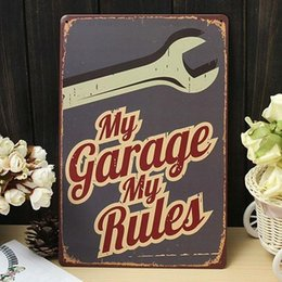 Wholesale House Rules Wall Art - Wholesale- Sign Garage Rule Metal Wall Art Decor Rustic Plaque Bar Cafe House Home Decor