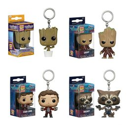Wholesale Bobble Man - 4Pcs Set Kids Toys Anime Action Figure Dancing Groot Bobble Head Keychain Tree Man Pocket Toys