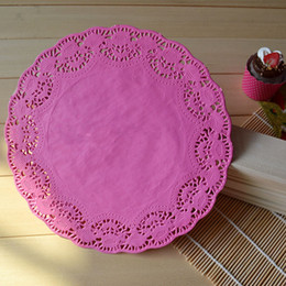Wholesale Paper Lace Doilies - Wholesale- 9.5inch 24cm pink lace paper mat doilies round paper lace doilies placemat wedding party tableware decoration free shippin
