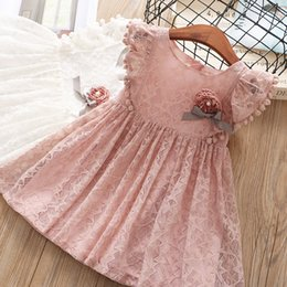 Wholesale White Cotton Embroidered Dresses - Girls lace dress 2018 New children pompon tassel falbala fly sleeve dress weav bows flowers kids star embroidered lace princess dress A00268