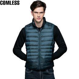 Wholesale Men S White Sleeveless Jacket - 2017 New Winter White Duck Down Jacket Men Sleeveless Vests Mens Lightweight Coats Outwear Men's Soft Warm Ultralight Jackets