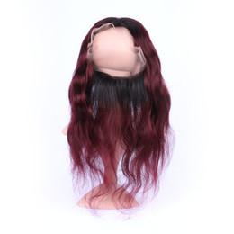 """2019 colore dei capelli per gli asiani 22.5 * 4 * 2 '' 360 frontali fascia di pizzo con capelli # 99J bordeaux corpo capelli ondulati 360 chiusura frontale di pizzo pieno 8 """"-20"""" pollici"""