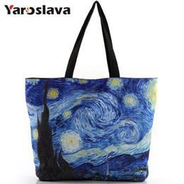 Bolsa de lona portátil online-Nueva 2018 Moda Van Gogh Noche Estrellada Impresión Hombro Lienzo Laptop Bolsos de Compras Bolsas de Las Señoras Bolsas Con Cremallera MU328