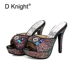 Wholesale High Heeled Slippers For Women - Sexy Open Toe Platform High Heels Women Slippers Luxurious Crystal Rhinestone Slides For Women Size 34-43 Squined Cloth Sandals