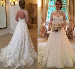 Wholesale Lace Champagne Long Sleeved Dresses - Vintage Lace Wedding Dresses High Neck Illusion Sleeved Open Back Aline Wedding Gowns Chapel Bridal Dresses