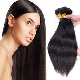 Wholesale brazillian natural wave hair - Brazillian Virgin Hair Straight Body Wave Unprocessed Human Hair 3 Bundles 4 Bundles Lot Wefts Natural Black 8A Brazilian Hair Extensions