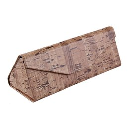 Wholesale Flocked Material - Triangular Fold Sunglasses Cases Upscale Leather Glasses Case Fashion Wood Grain Box Leather Material Flocking Inner Layer