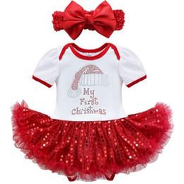 Красный комбинезон с блестками онлайн-Детские девушки Рождество одежда установить мой первый рождественский комбинезон + Красный блесток платье + бантом оголовье младенческой Рождество комбинезон набор подарки на День Рождения