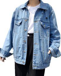 Falda de abrigo azul online-Mujeres Denim Jacket Coat BF Bolsillos botón agujero deshilachado solo Breasted sueltos Boyfriend Jeans Outwear azul partido vestidos sudaderas con capucha faldas