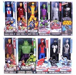 Kapitän amerika spinne hulk online-32CM Rächer Action-Figuren 12 '' Captain America Venom Black Red Spiderman Thor X-Man Wolverine Super-Heros ironman Hawkeye Hulk 12inch Box
