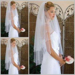 Wholesale wedding veil prices - Latest Two-Layer Bridal Veils Elbow Length Cut Edge Custom Made Wedding Veils Reasonable Price Simple Bridal Accessories