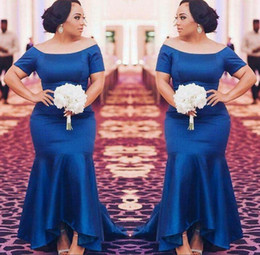 Wholesale Trumpet High Low Dresses - Plus Size Bridesmaid Dresses Short Sleeves Navy Blue Satin Mermaid Maid Of Honor Gowns High Low Wedding Guest Prom Party Dress Simple