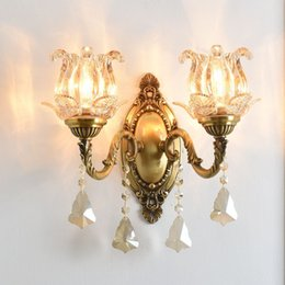 Cristal clásico para sala de estar online-OOVOV Classic Copper Crystal Living Room Lámpara de pared Dormitorio Sala de estudio Balcón Pasillo Escaleras Lámparas de pared