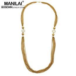 84c74c117961 intera venditaMANILAI Monili di fascino di modo Multi strati Catena di strass  Collane lunghe per la collana di dichiarazione del vestito delle donne  collana ...