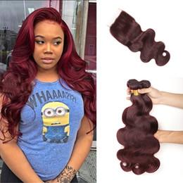 burgund rote haarfarbe Rabatt 8A Unverarbeitete brasilianische Burgunder reines Haar mit Spitze Schließung mit Bundles Farbe 99J Wein rot Menschenhaar Körperwelle Haar spinnt