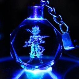 Crystal Keyring Key Chain LED Pendant Color Flash Dragon Ball Dragonball Z Super Saiyan Goku Keychain Freeshipping