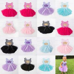 Wholesale Girls Crown Dress - Baby girls TuTu lace Net yarn dress children Crown letters print princess dresses 2018 summer Boutique kids Clothing 15 colors C3953