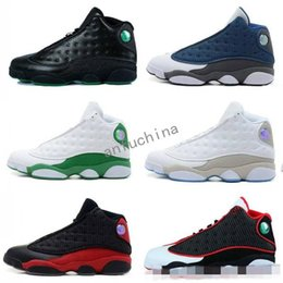 Wholesale White Rhinestone Boots - 2018 high quality air retro 13 XIII men Basketball Shoes Bred Navy Game hologram grey toe Flint Grey Athletics Sports Sneakers Boots