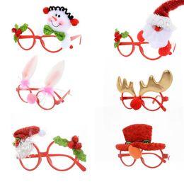 quadros de óculos de natal Desconto Merry Christmas Quadro Óculos Ornamentos Adulto Crianças Óculos de Óculos de Sol Traje Olho Quadro Presentes de Natal Decoração Do Partido Ano Novo