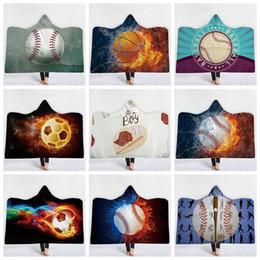 bolas de futebol Desconto Esporte de futebol Bola Padrão Com Capuz Cobertor Sherpa Macio Impresso Manta de Futebol Americano Manta cobertores Crianças Adultas cobertores De Beisebol GGA1187