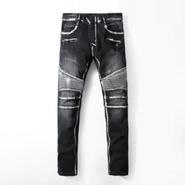 2019 design de jeans de marca para mens Mens Plissado Lavado Denim Calças VERDADEIRO Marca Jeans Hommes Magro Calças Compridas Bolso Projeto RELIGIÃO Jeans Mens Preto Motociclista PUNK Jeans design de jeans de marca para mens barato
