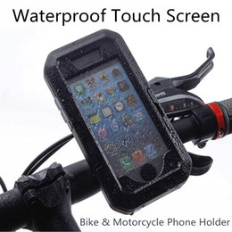 mobile phone motorcycle stand holder Promo Codes - Outdoor Motorcycle Bicycle Bike Mobile Phone Holder Stand Support For Iphone X 8 7 6 6s Plus 5s Gps Waterproof Touch Screen Case