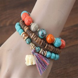 white resin elephants Promo Codes - Women Fashion Bracelet Multilayer Beads Bangle Cotton Tassels Elephant Bracelets Gift for women ladies Bohemian Jewelry LX