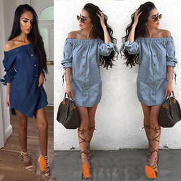 eb967927e31 Women Off Shoulder Mini Denim Jeans Buttons Wrap Dress Solid Slash Neck  Blue Summer Costume Size 6-14