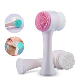 massagens faciais Desconto HF002 Dupla Face Multifuncional Escova De Limpeza Facial de Silicone Tamanho Portátil 3D Facial Ferramenta de Massagem de Limpeza Facial Escova
