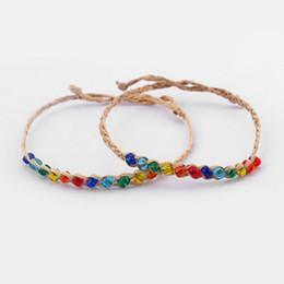 Wholesale wholesale glass seed bead - 20pcs Natural Woven Raffia & Glass Seed Bead Friendship Bracelet Rainbow Fine Jewelry