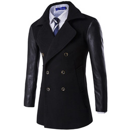 Wholesale Male Leather Wool Clothing - Size M-XXXL 2016 Mens Autumn Winter Wool & Blends High Quality Slim fit Male Clothing Casual Wear Leather sleeve Men Coat 16D117