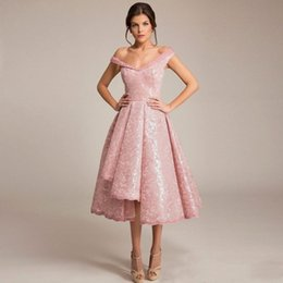 Wholesale Irregular Pleat Dress - 2018 Cheap Fashionable Short Evening Dresses Pink Irregular Skirt Party Gowns With Cap Sleeves Modest V-Neck Party Prom Dress Robe De Soiree