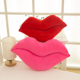 Wholesale Pink Plush Pillow - Lovely Funny Pillow Lips Design Plush Stuffed Decoration Cotton Bolster Comfortable Back Cushion For Girls 6 86rc B