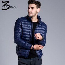Wholesale slim down light - XMY3DWX Fashion male Slim Fit Super light thin 90% White duck down down jacket Men's pure color Stand collar Casual jackets