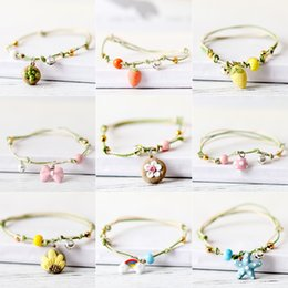 Wholesale chinese ropes - Originality Handmade Ceramic Bracelets Chinese Style Carrot Rainbow Starfish Fish Strawberry Bowknot Adorn Article for Student Girls Gift