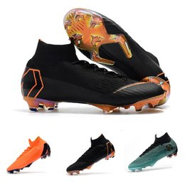 Wholesale cheap blue ankle boots - 2018 top quality mens soccer cleats Mercurial Superfly VI 360 Elite Ronaldo FG soccer shoes chaussures de football boots high ankle cheap